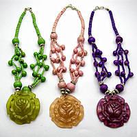 """Ожерелье из камней с медальоном """"Роза"""""""