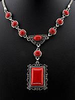 046357 Подвеска Коралл 56 см.   украшение с натуральным камнем