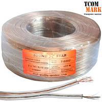 Кабель акустический (питания), медь/лужёная медь, 2х0,16мм.кв., прозрачный, 100м Sound Star