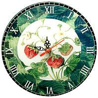 """Часы настенные """"Клубника"""" стекло (d-20 см)(тихий ход)"""