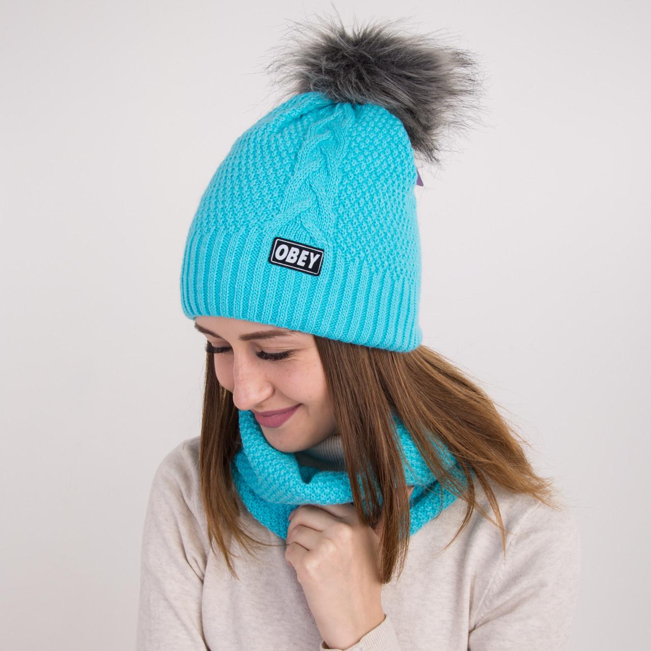 Вязанный женский комплект (шапка с помпоном и хомут) - OBEY - Артикул 1072