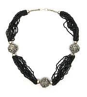 """Ожерелье из биссера и металла """"Черное""""  (35 см)"""