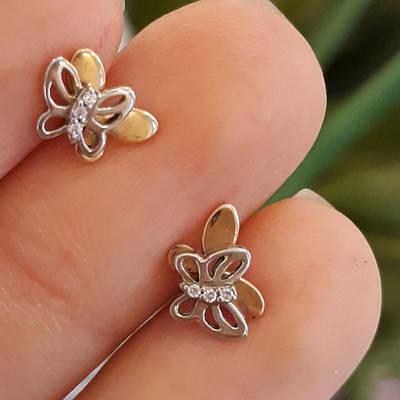Серьги Бабочки золото 585 - Пусеты Бабочки