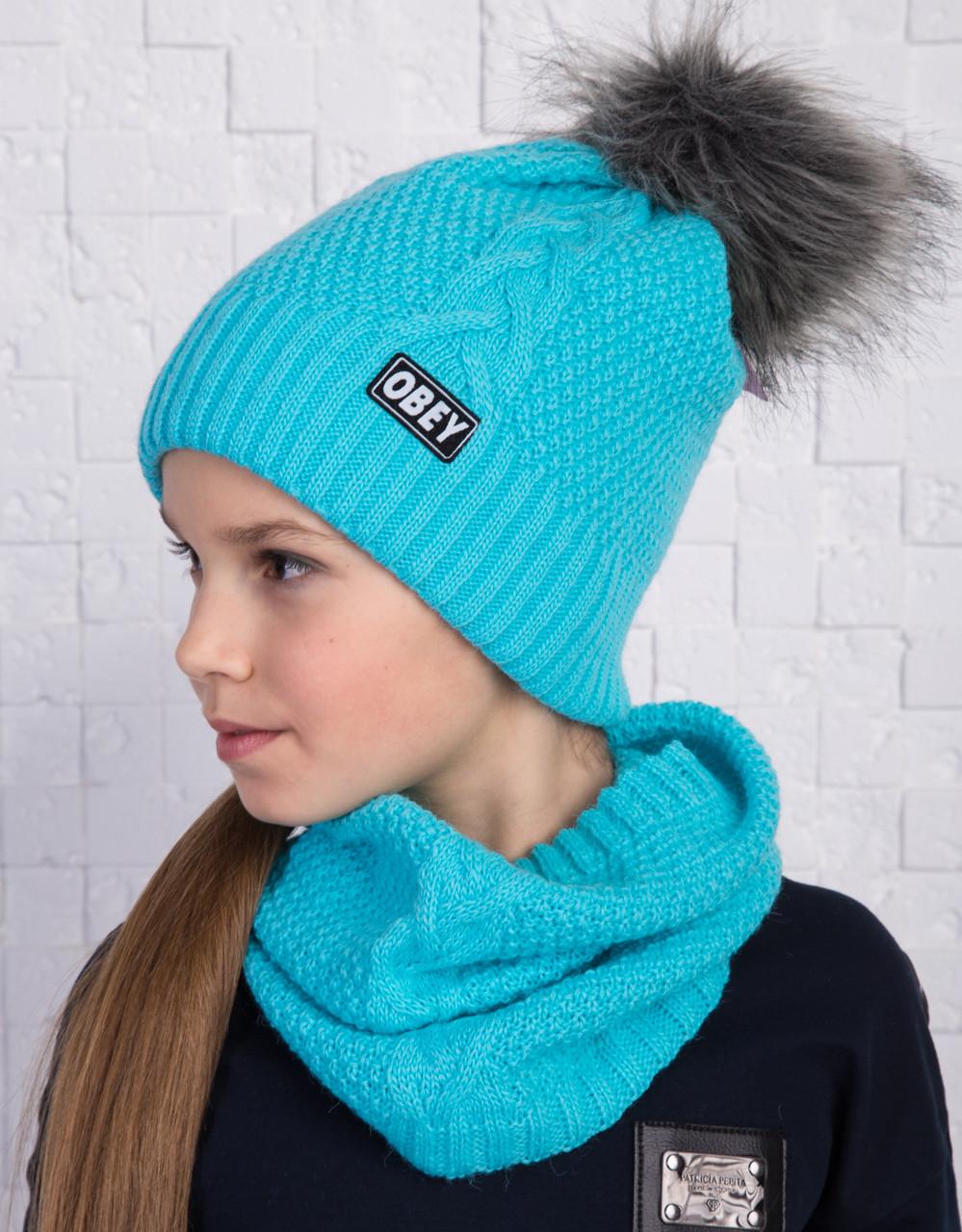 Вязанный зимний комплект для девочки (шапка с помпоном и хомут) - OBEY - Артикул 1072