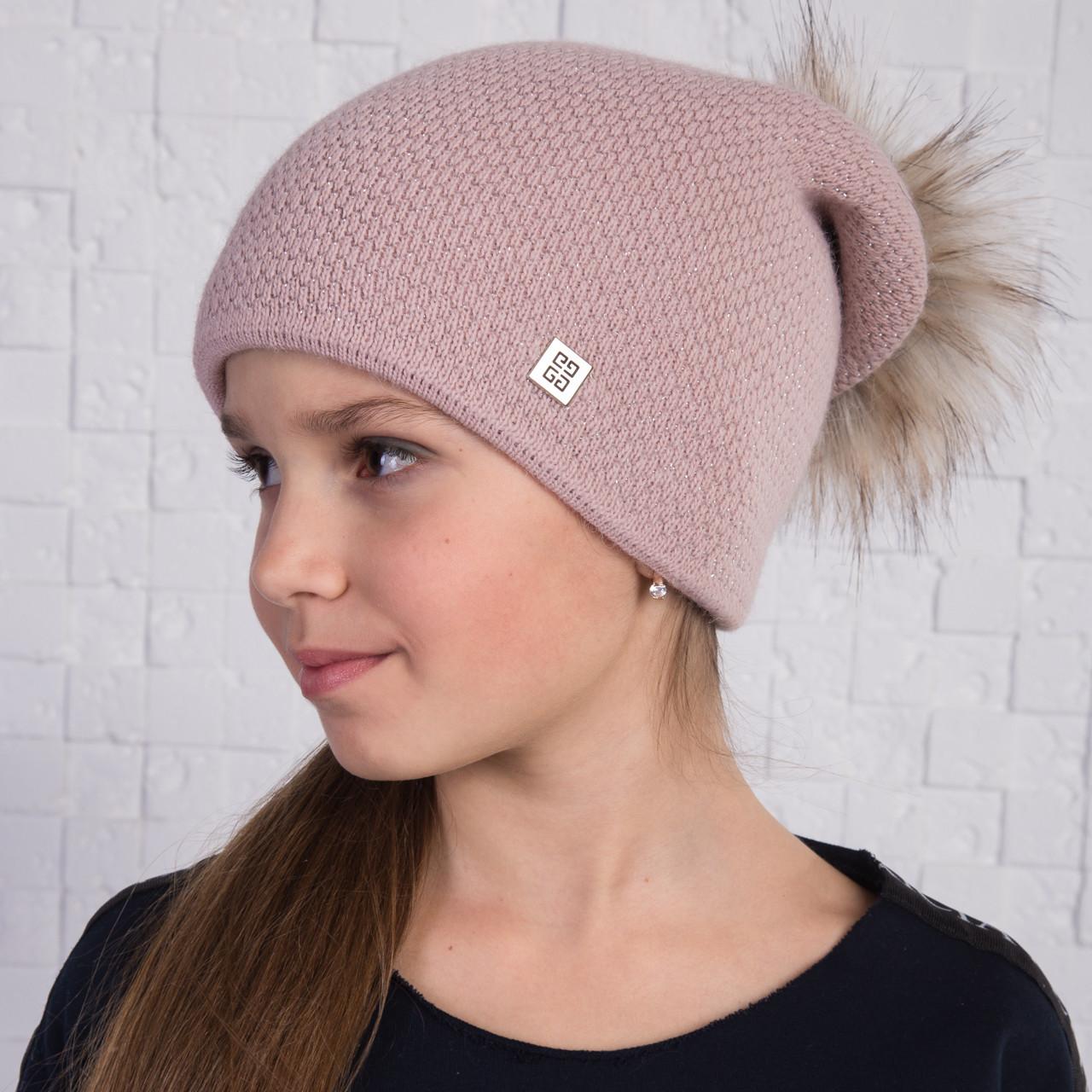 Вязанная шапка с меховым помпоном для девочек на зиму - Артикул 2166 (пудра)
