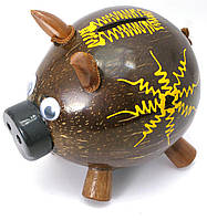 "Копилка ""Свинка"" кокосовая (14х15х10 см)"