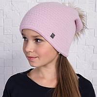 Вязанная шапка с меховым помпоном для девочек на зиму - Артикул 2166 (розовая)