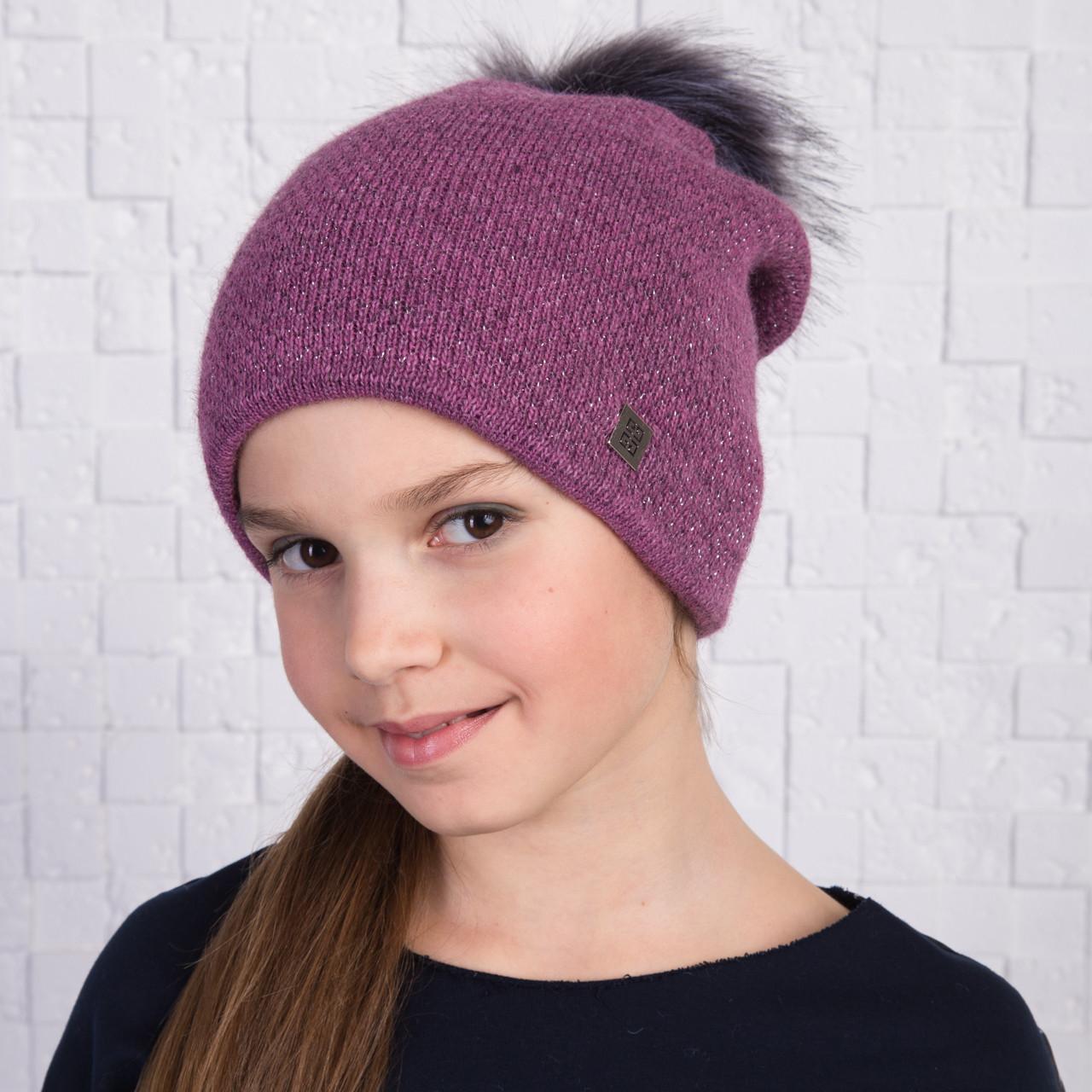 Вязанная шапка с меховым помпоном для девочек на зиму - Артикул 2166 (фиолет)
