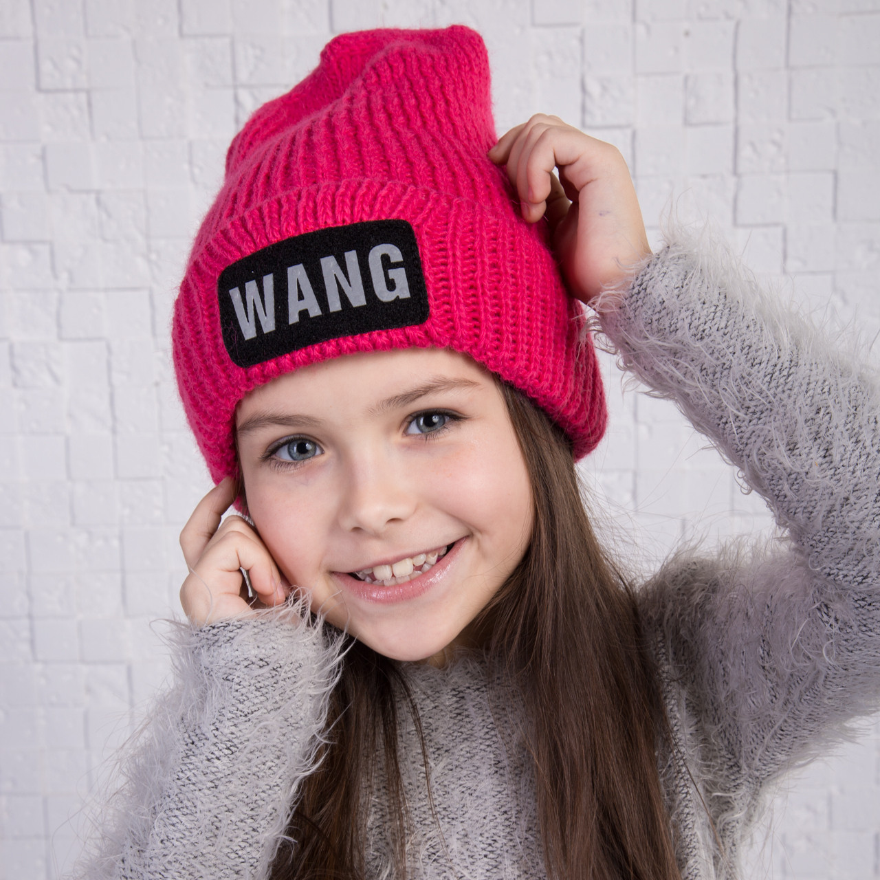 Вязаная шапка для девочки на флисе - WANG - Артикул 2160 (разные цвета)