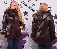 6fa9faefeb2b Женская дубленка коричневая с окантовкой из натурального меха и капюшоном  61922 50