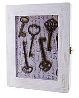 """Ключница """"Ключи""""белая массив дерева (22,5х19,5х5,5 см.)"""