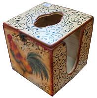 "Салфетница кубик ""Петухи"" (14х14х14) сосна, липа"