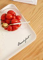 Маленький пластиковый поднос Breakfast белый 30х22