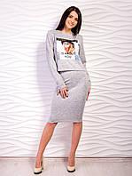 Костюм женский кофта с принтом и юбка p.42-48 VM2124-1