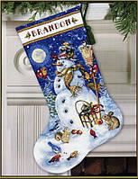 70-08839 Набор для вышивания крестом DIMENSIONS Снеговик и друзья. Чулок