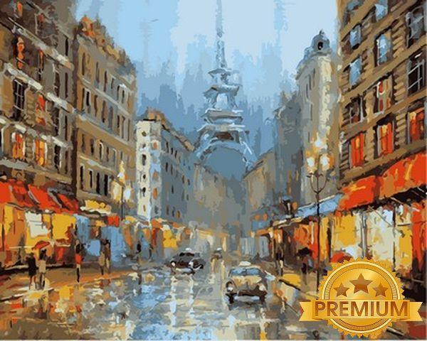 Картины по номерам 40×50 см. Babylon Premium (цветной холст + лак) Ночь в Париже Художник Дмитрий Спирос