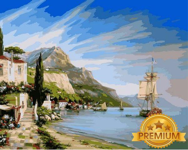 Картины по номерам 40×50 см. Babylon Premium (цветной холст + лак) Приморский город Художник Валерий Черненко