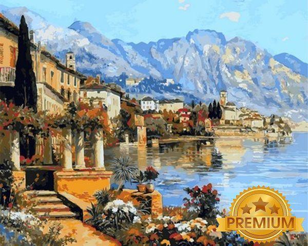 Картины по номерам 40×50 см. Babylon Premium  Небольшой городок на озере Гарда Художник Алоис Арнеггер