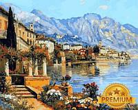 Картины по номерам 40×50 см. Babylon Premium  Небольшой городок на озере Гарда Художник Алоис Арнеггер , фото 1