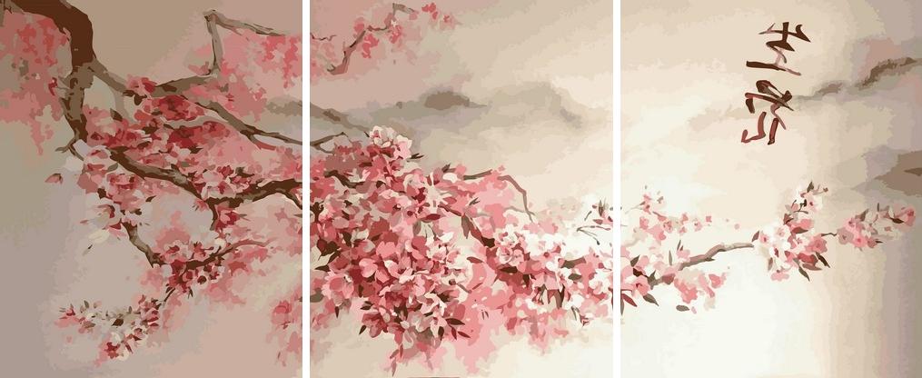 Картини по номерах 50х120 см. Триптих Сакура