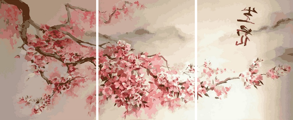 Картины по номерам 50х120 см. Триптих Сакура