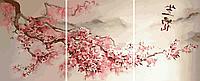 Картины по номерам 50х120 см. Триптих Сакура, фото 1