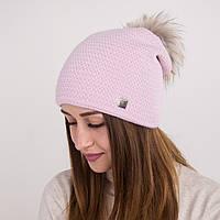 Вязанная шапка с меховым помпоном для женщин - зима 2018 - Арт 2166 (розовая)