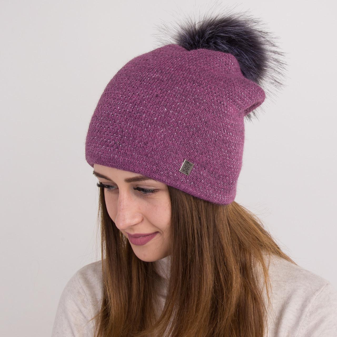 Вязанная шапка с меховым помпоном для женщин - зима 2018 - Арт 2166 (фиолет)