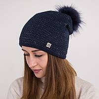 Вязанная шапка с меховым помпоном для женщин - зима 2018 - Арт 2166 (синяя)