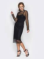 Элегантное платье приталенного кроя с верхом из сетки с маленькими точкам черный, фото 1
