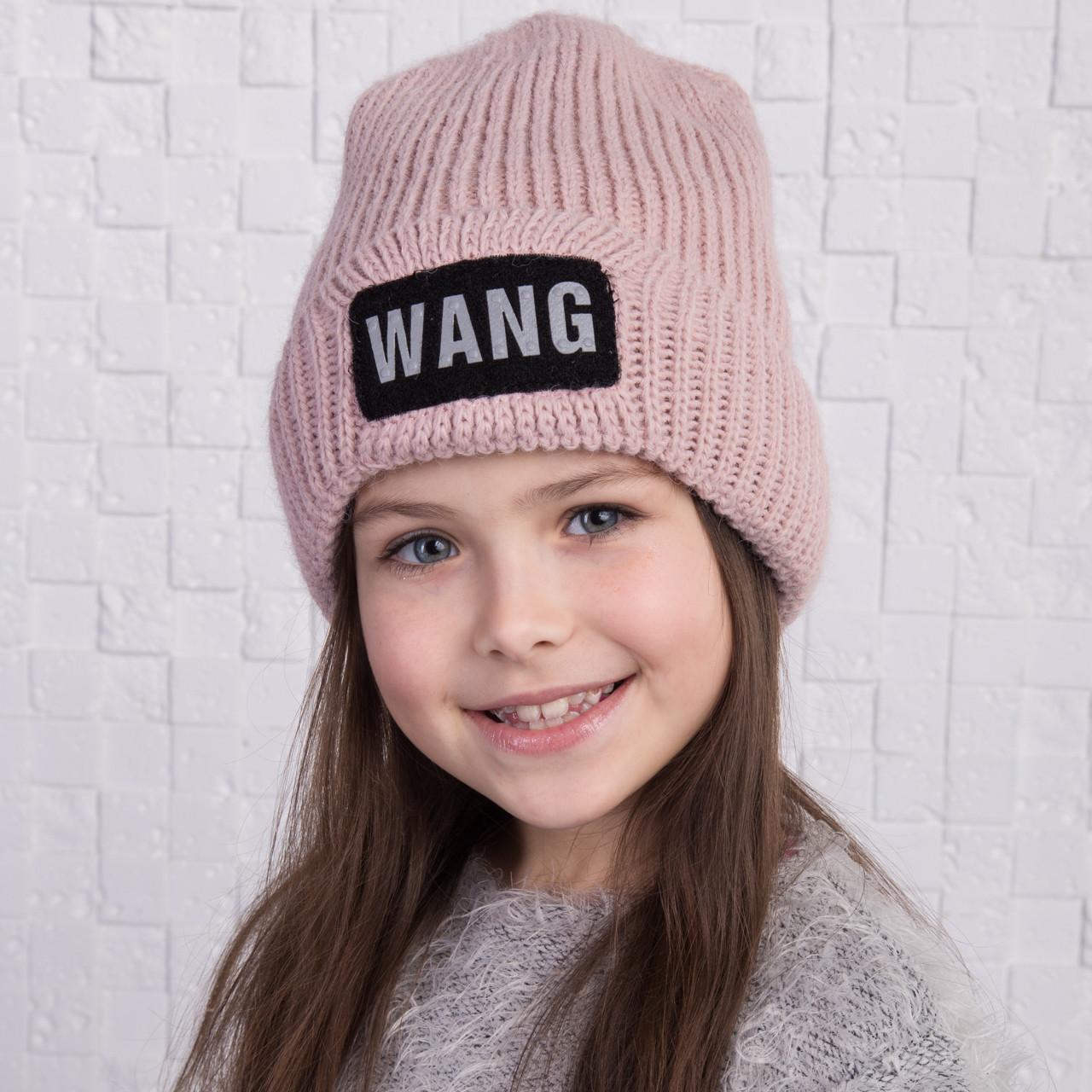 вязаная шапка для девочки на флисе Wang арт 2160 разные цвета