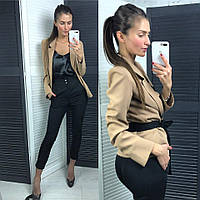 Женский  стильный костюм тройка - брюки, пиджак, майка, в расцветках