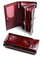 Лакированый бордовый кожаный кошелек купить
