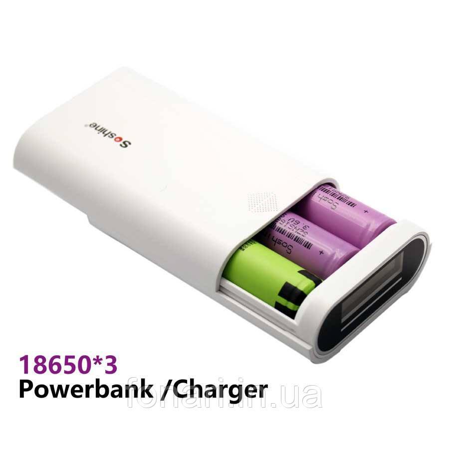 Power Bank Soshine E5 Dual USB, 3х18650, ток 2A