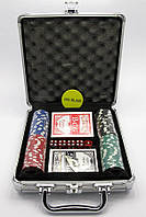 Покерный набор в кейсе (2 колоды карт +100 фишек)(23х25х8 см)(вес фишки 4 гр. d-39 мм)