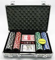 Покерный набор в кейсе (2 колоды карт +200 фишек)(24х32х9 см)(вес фишки 4 гр. d-39 мм)