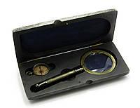 Лупа с компасом в деревянном футляре (23,5х11х4 см) Лупа (d-8см, h-20см.) Компас (d-3,8см))
