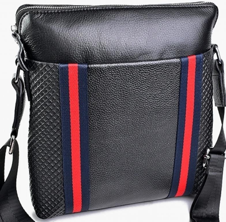 fb0e46347a50 Мужская сумка из натуральной кожи чёрного цвета впереди с карманом ...