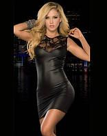 Платье из кожи с кружевной спинкой черное