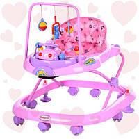 Детские ходунки JS 322 Bambi розово-сиреневые