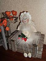 Авторская текстильная кукла ручной работы Ангел Снежинка - подарок на Новый год