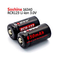 Аккумулятор Soshine 16340(RCR123) Li-Ion 650 mAh 3V