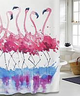 """Шторка для ванной тканевая """"Фламинго"""""""