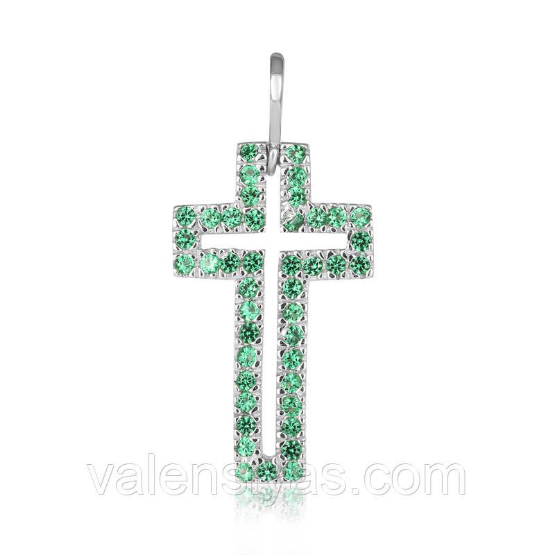 Серебряный крестик с зелеными камнями П2ФИ/071