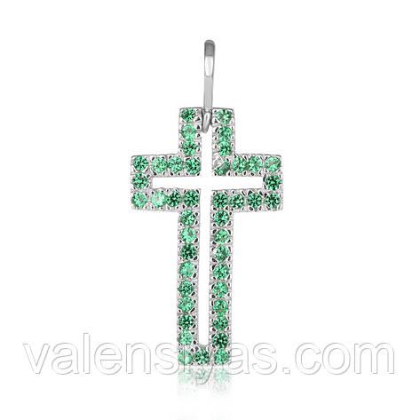 Серебряный крестик с зелеными камнями П2ФИ/071, фото 2