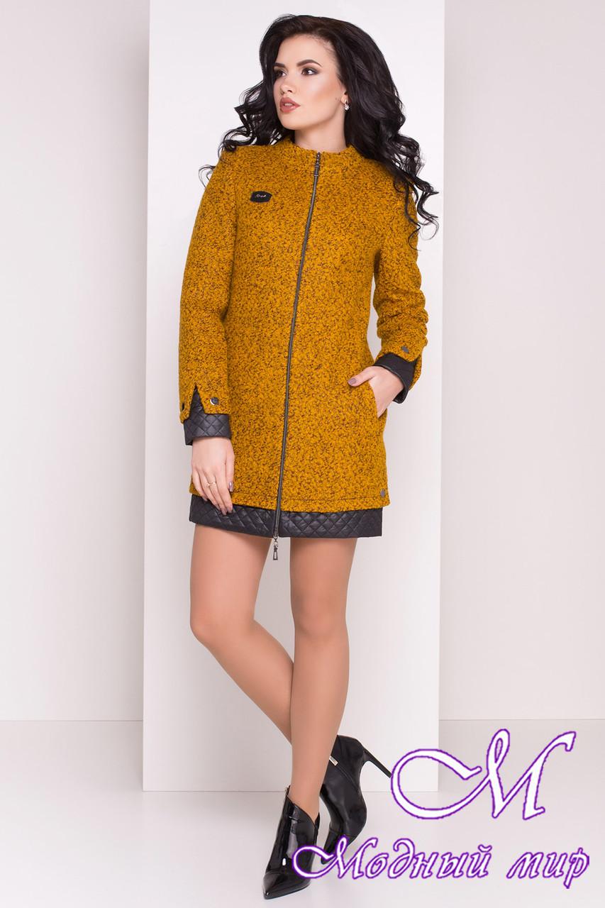 Прямое женское пальто цвета горчица  (р. S, M, L) арт. Амберг 80 крупное букле 9181