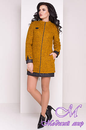 Прямое женское пальто цвета горчица  (р. S, M, L) арт. Амберг 80 крупное букле 9181, фото 2