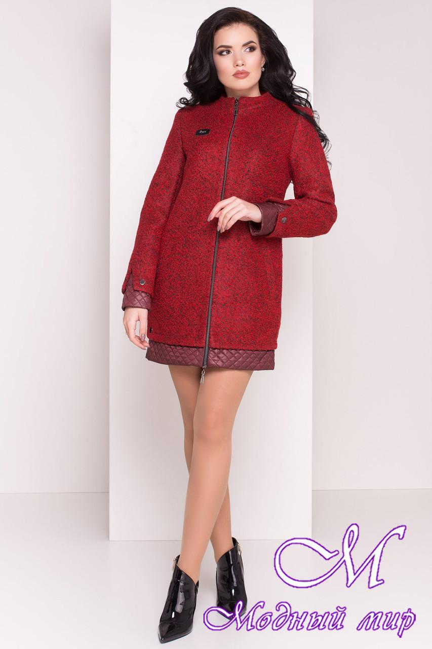Пряме жіноче пальто кольору бордо (р. S, M, L) арт. Amberg 80 велике букле 9183