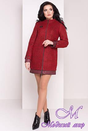 Пряме жіноче пальто кольору бордо (р. S, M, L) арт. Amberg 80 велике букле 9183, фото 2