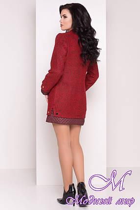 Прямое женское пальто цвета бордо (р. S, M, L) арт. Амберг 80 крупное букле 9183, фото 2